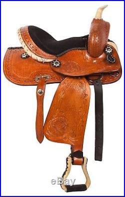 10 12 13 Pony Leather Saddle Tack Western Youth Kids Saddle Tack Set