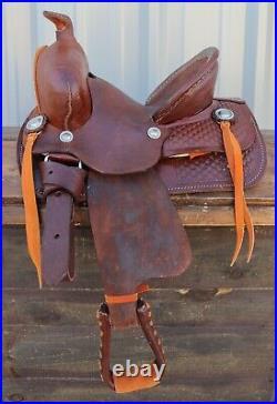 10 High Back Kid Children Basket Pattern Brown Leather Mini Pony Leather Saddle