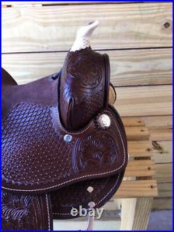 10 Leather Western Youth Saddle with Full Tooling Mini Miniature Horse Pony
