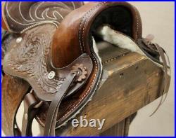 10 Pony Horse Saddle Kids Cowboy Cowgirl Pleasure Leather Brown Western Saddle