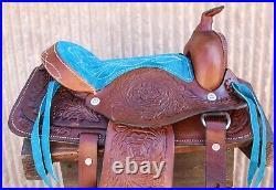 10 Pony Western Kids Mini Horse Brown Turquoise Saddle