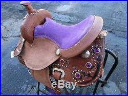 12 13 Purple Pony Kids Youth Barrel Racing Trail Leather Western Horse Saddle