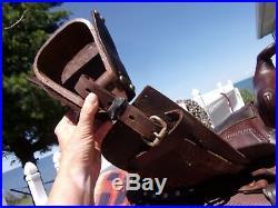 12'' BROWN SIMCO Leather STUDDED PARADE WESTERN KIDS PONY SADDLE w TAPADAROS