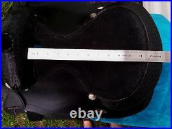 12 Black Tooled Leather Western Youth Saddle Mini Pony Short Round Skirt 3267