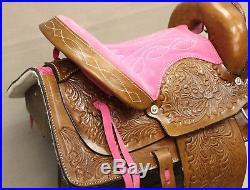 12 Brown Youth Western Mini Pony Saddle Pink Leather Kids Saddle