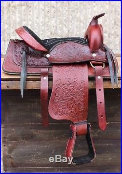 12 Burgundy Youth Western Pony Saddle Leather Kids Saddle