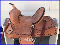 12 New Western Leather Youth Child Horse Pony Ranch Saddle Natural Buck-stiched