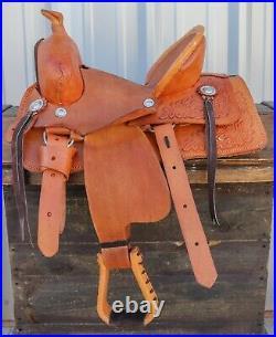 12 Used High Back Kids Children Floral Leather Mini Pony Leather Saddle