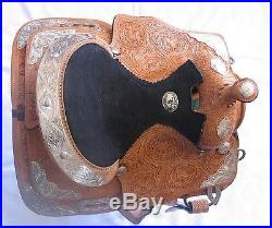 13 Inch Western Silver Show Saddle Light Oil Leather -Loaded with Silver