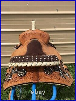 13 Silver Royal Midnight Run youth western barrel saddle withsuede cross overlay