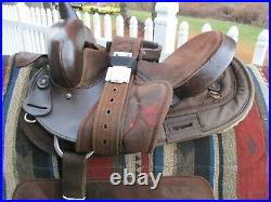14'' #104 Big horn Brown Leather/Cordura western barrel trail saddle QH BARS