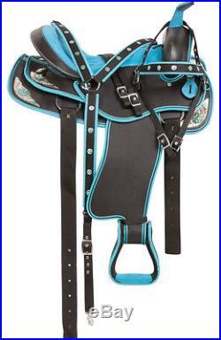 14 15 16 17 18 Blue Crystal Barrel Racing Pleasure Trail Show Horse Saddle Tack