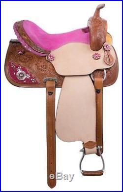 14 15 16 Pink Western Pleasure Trail Barrel Leather Horse Saddle Tack