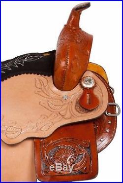 14 15 Round Skirt Gaited Western Pleasure Trail Horse Leather Saddle Tack Set