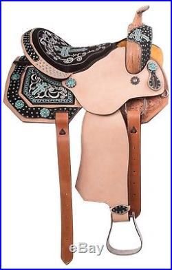 14 15 Western Barrel Racing Saddle Horse Blue Bling Crystal Trail Show Tack