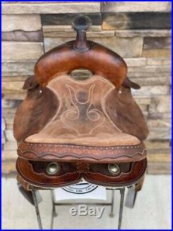 14.5 Santa Fe Brown Leather barrel saddle Clean