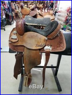 14.5 Used Reinsman Western Barrel Saddle 3-1475-1