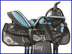 14 Western Barrel Racing Pleasure Trail Show Horse Saddle Tack Set Blue