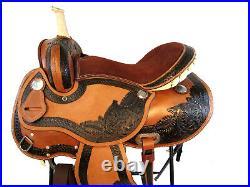 15 16 Barrel Racing Show Trail Tooled Leather Pleasure Western Horse Saddle Tack