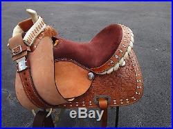 15 16 Buckstitch Barrel Racing Show Pleasure Tooled Leather Western Horse Saddle