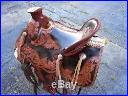 15 16 Roping Cowboy Ranch Trail Pleasure Floral Tooled Leather Horse Saddle Tack
