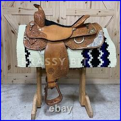 15.5 Circle Y Equitation Show Saddle with Silver Overlay FREE SHIPPING