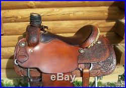15.5 Pro Custom Saddle TX Western roping pleasure trail extra wide gullet bars