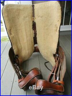 15'' Bona Allen Western Leather Tooled Trail Saddle Sqbars #1392