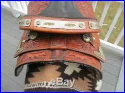 15'' Congress Leather Two Tone Silver Equitation Western Show Saddle Qh Bars