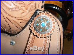 15 Double T Barrel Racing Racer TURQUOISE STONES Embossed Seat Leather Saddle