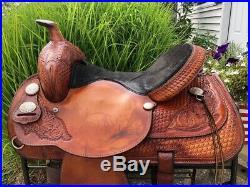 15 Hereford Tex Tan FLEX TREE Western Trail Saddle