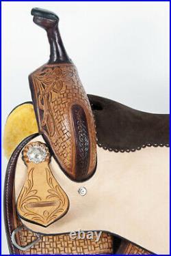 15 In Western American Leather Horse Saddle Barrel Racing Trail Pleasure U-1-15