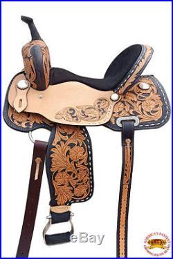 15 In Western Horse Barrel Saddle Trail Pleasure Leather Oiled U-9-15