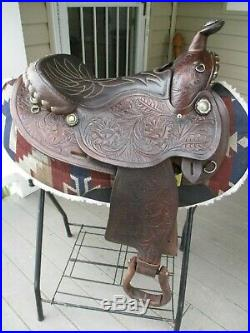 15'' Simco Arabian Western Tooled Show Trail Saddle Arab Bars