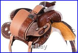 15 Tooled Western Barrel Trail Show Silver Leather Horse Saddle Tack
