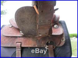 15'' Vintage Hereford Tex Tan Buck Stitched Western Tooled Saddle Qhbars