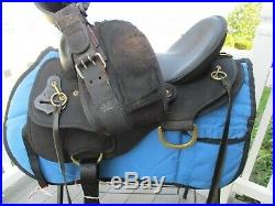 15'' WIDE BLACK ABETTA DELUXE TRAIL Western Saddle FQH bars w BRASS RINGS 20551