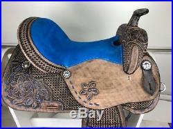 15 Western Leather Barrel Pleasure Trail Black Royal Blue Horse Saddle Tack