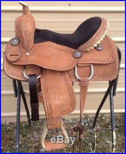 15 cowboy rough out all-around western saddle withbarbwire stamping