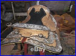 15'' new western saddle fully show saddle with silver corner canchos