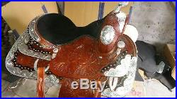 15'' western saddle fully tooled show saddle with silver corner and canchos