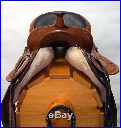 16 17 Chestnut Leather Fully Tooled Gaited Trail/Pleasure Western Saddle