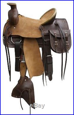 16 Blue River Roping Saddle With Rough Out Leather Hard Seat, Jockeys & Fenders