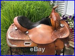 16 CIRCLE Y Light Oil Park & Trail Western Show Saddle w Breast Collar