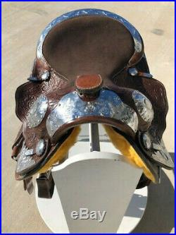 16 New Western Leather Pleasure Trail Silver Show Brown Tooled Saddle Tack