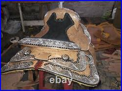 16'' New western saddle fully show saddle with silver corner canchos