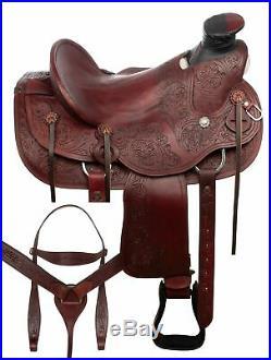 16 Ranch Work Western Wade Tree Roping Leather Hard Seat Horse Saddle Tack Set