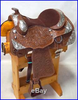 16 Showman WESTERN horse SADDLE SHOW Full silver Oak leaf Tooled DblT Medium Ol