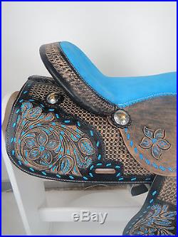 16 Western Leather Barrel Pleasure Trail Black Royal Blue Horse Saddle Tack