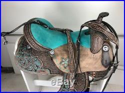 16 Western Leather Barrel Pleasure Trail Black Torquish Horse Saddle Set Tack